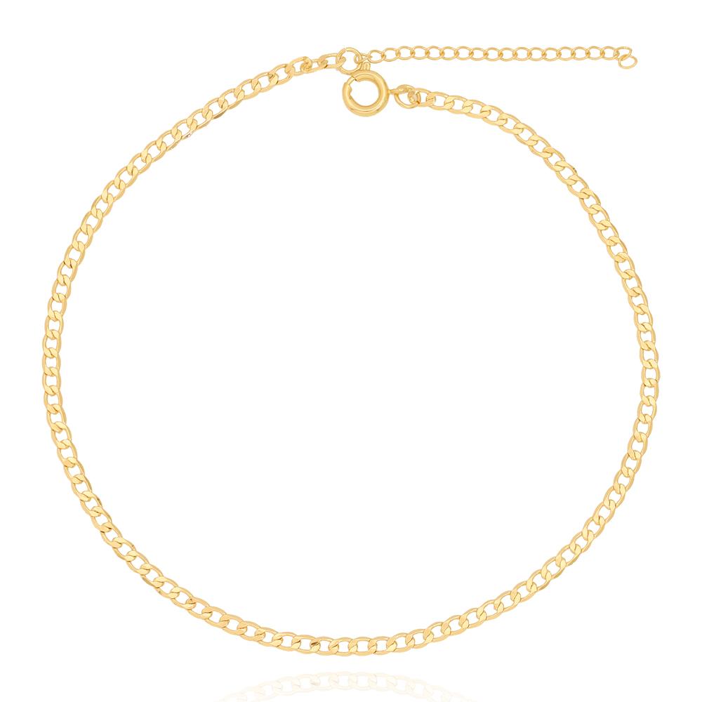 Tornozeleira Elos Quadrados Pequenos Amassadinhos Folheado Ouro 18K