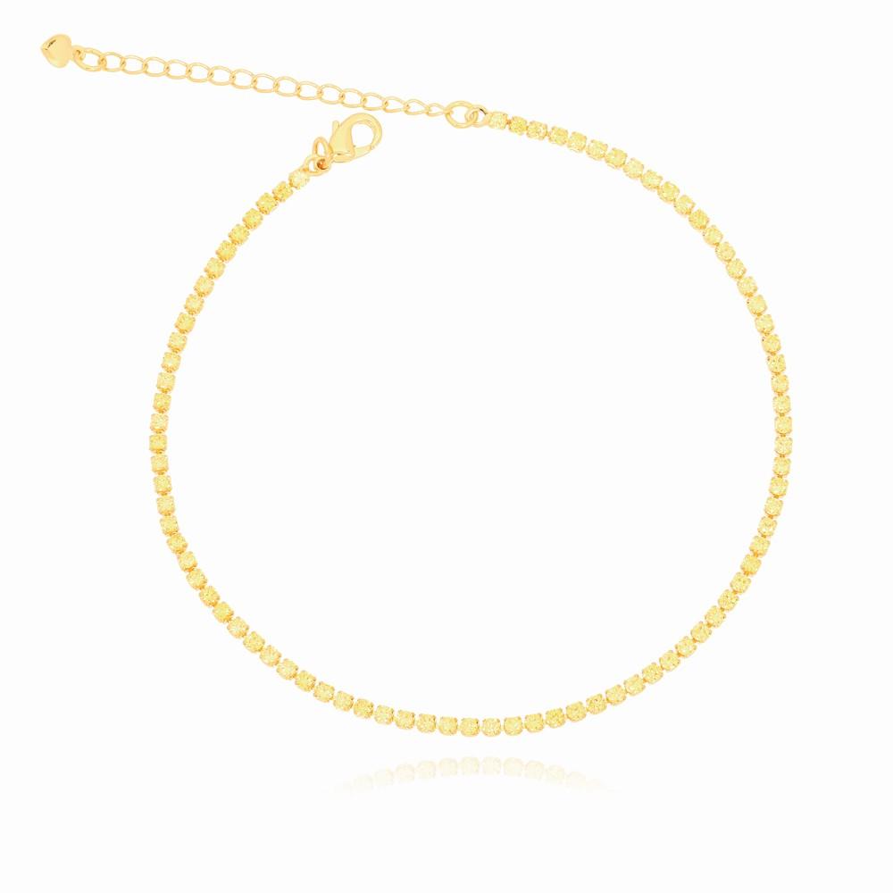Tornozeleira Riviera Amarela Folheado Ouro 18K