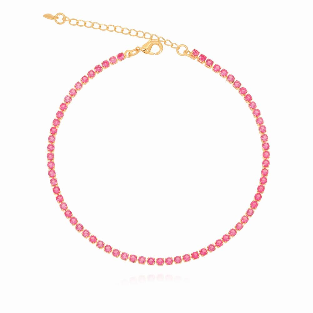 Tornozeleira Riviera Rosa Folheado Ouro 18K