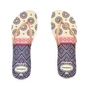 Chinelo Flat Mix Cf Bege Palha Rose Gold - 4130351 - P