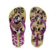 Chinelo Ipanema Dog Mania Infantil Meninas Amarelo Rosa -26153