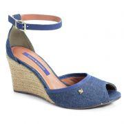 Sandália Anabela Cravo E Canela Jeans Azul - 144806-1