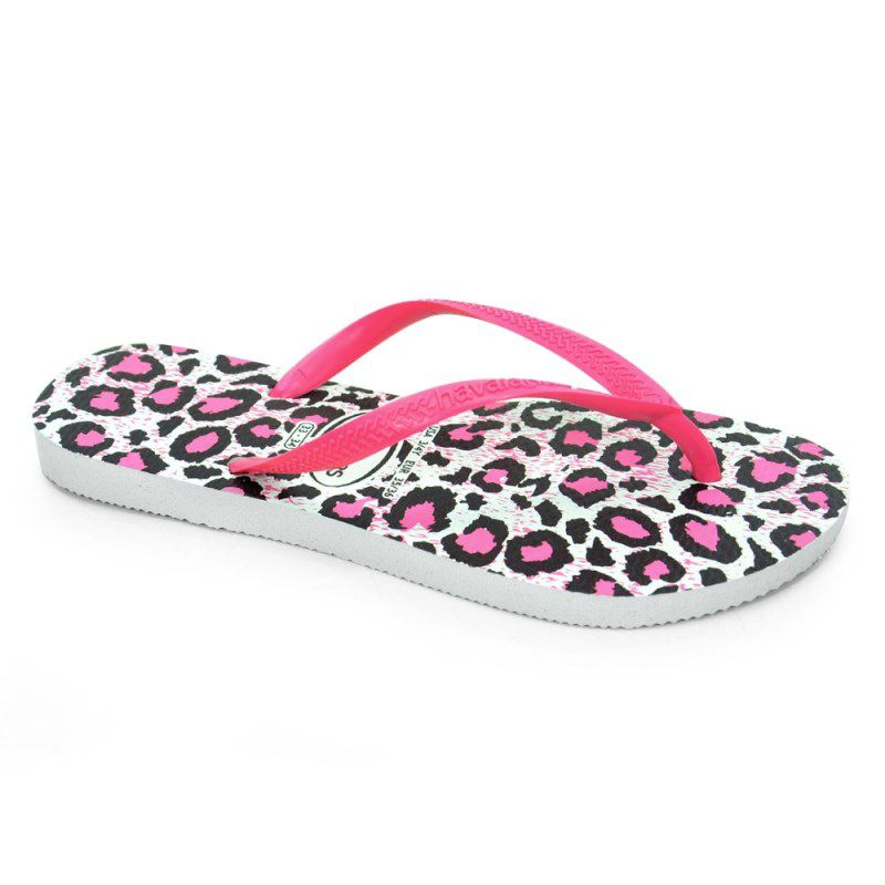 Chinelo Havaianas Slim Animals Branco Rosa - 4103352