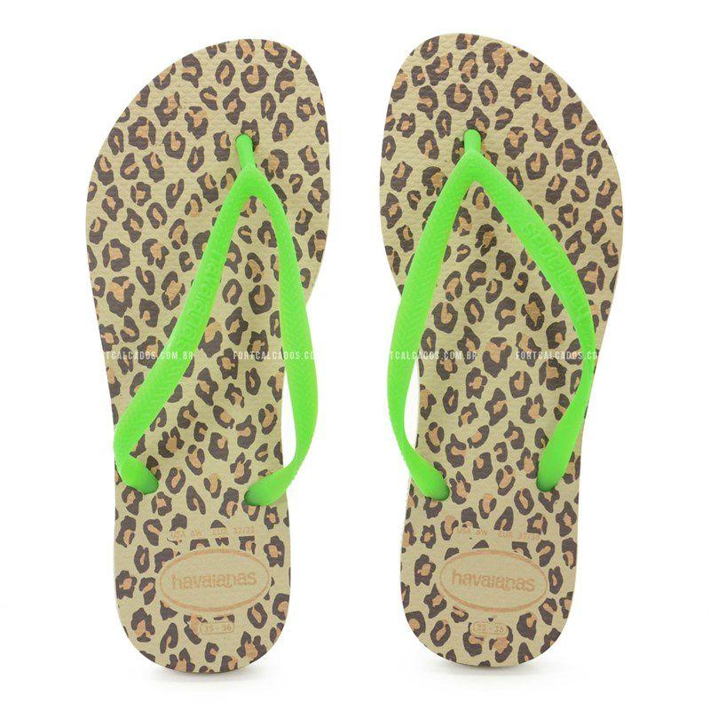 Chinelo Havaianas Slim Animals Fluo Areia Verde - 4128095