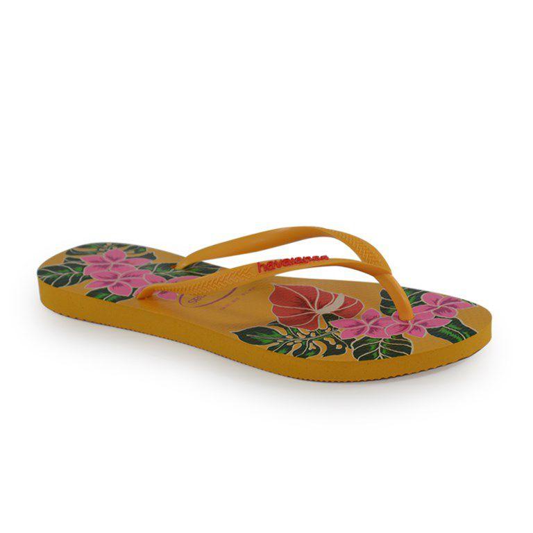 Chinelo Havaianas Slim Floral Amarelo Banana - 4129848