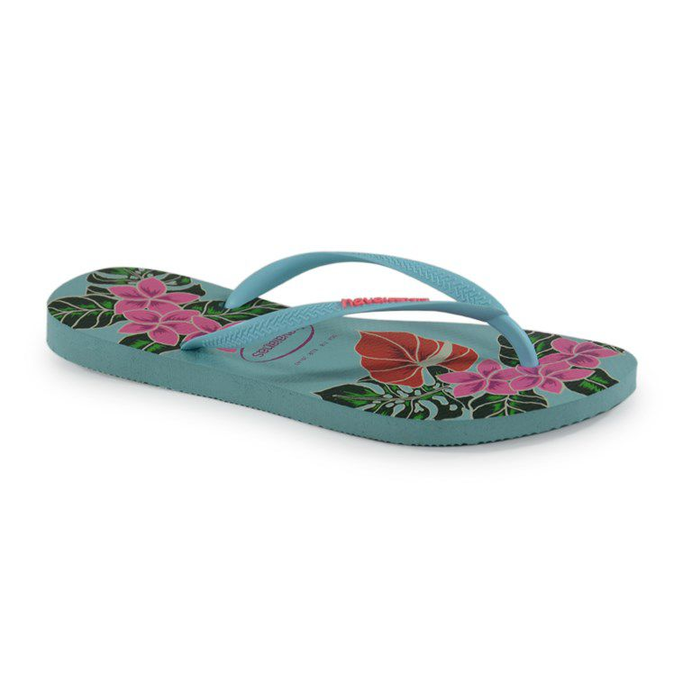 Chinelo Havaianas Slim Floral Ice Blue - 4129848