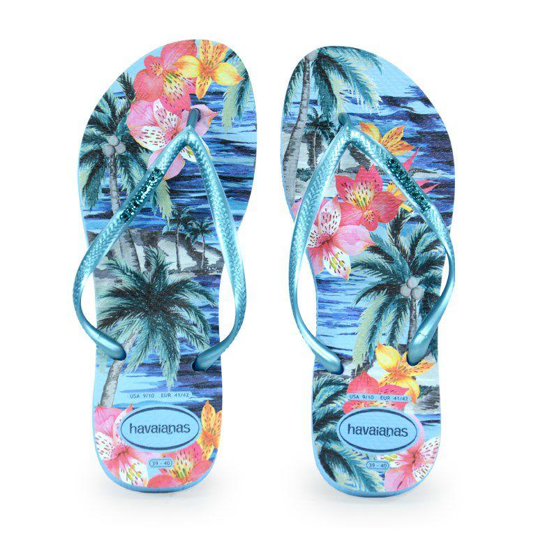 Chinelo Havaianas Slim Tropical Azul Splash - 4122111