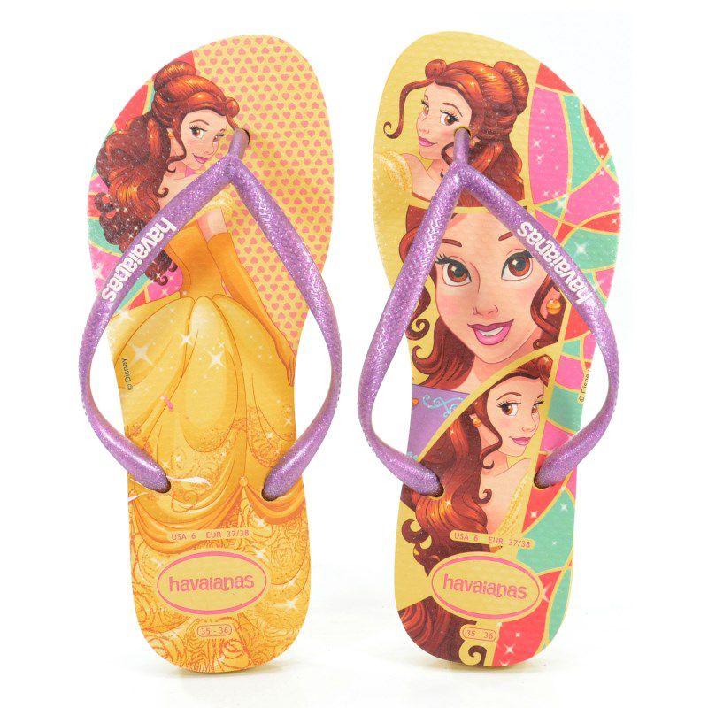 Chinelo Infantil Havaianas Kids Slim Princess Amarelo Claro - 4123328