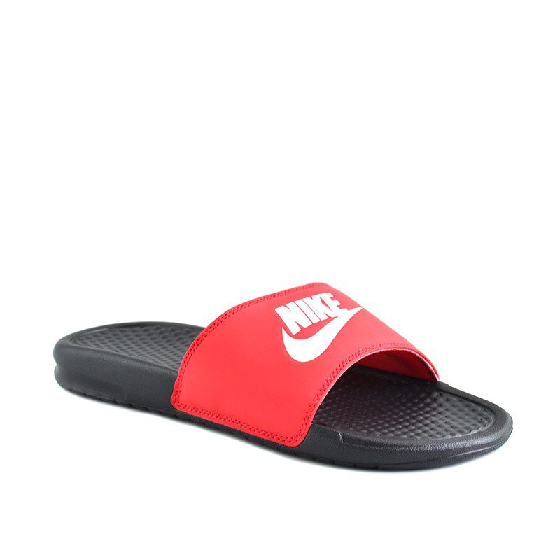 Chinelo Nike Banassi Jdi Preto Branco Vermelho - 343880-026