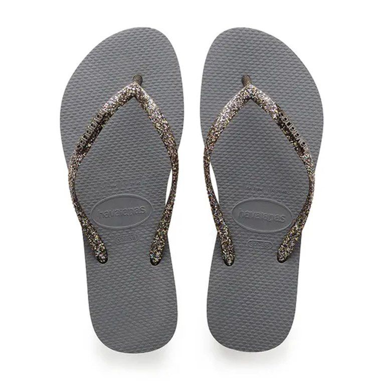 Chinelo Slim Logo Metallic
