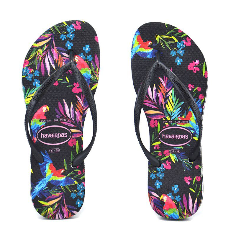 Chinelo Slim Tropical Floral Cf