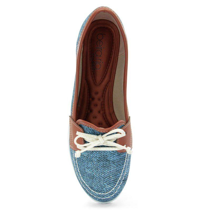 Mocassim Beira Rio Jeans Azul Escuro Camel - 4147107