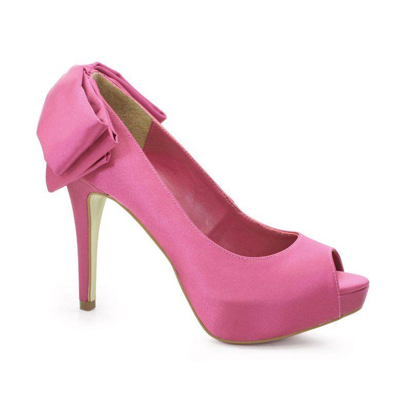 Retro Salto Alto Divalesi Cetim Pink-8613-C