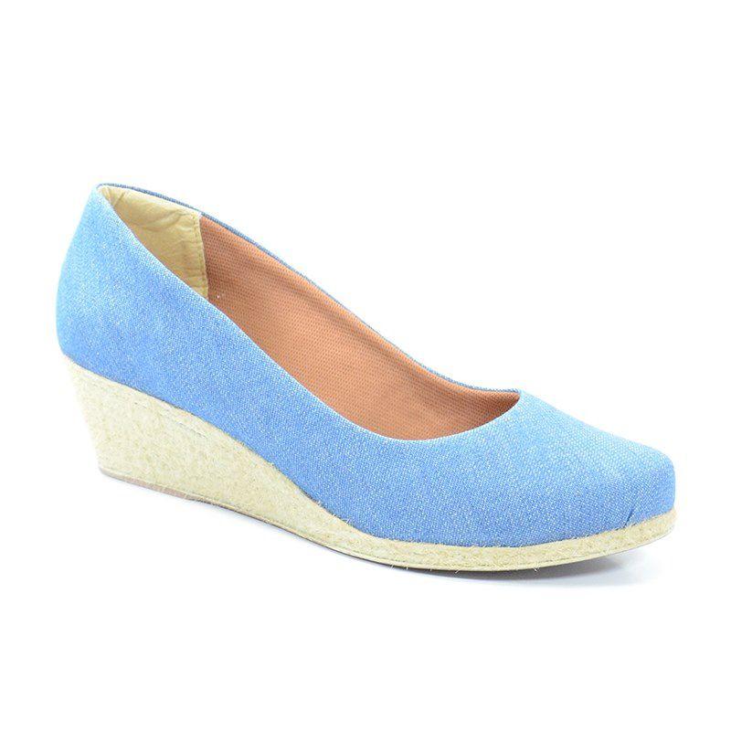 Sandalia Anabela Chic Pe Jeans Azul - 7010