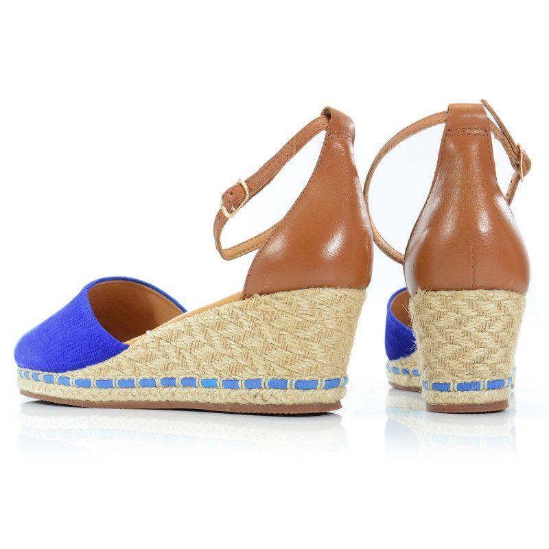 Sandália Anabela Espadrilhe Bottero Azul Royal Caramelo - 259205