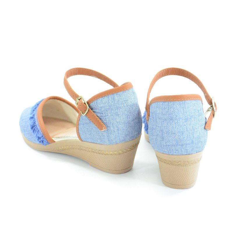 Sandalia Anabela Pink Cats Infantil Meninas Azul Ocre Azulo Celeste-W9373