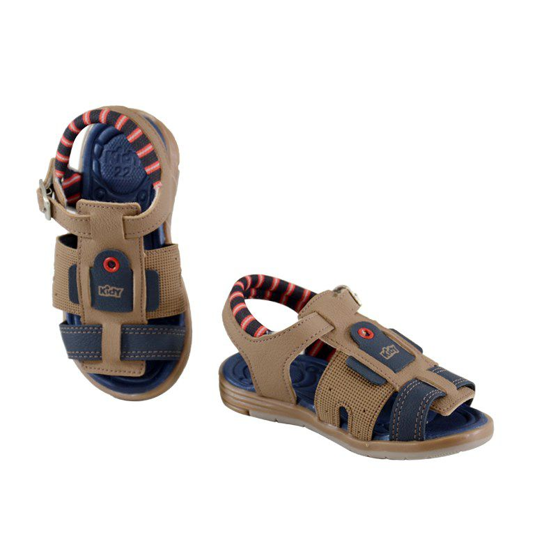 Sandalia Infantil Kidy Baby Equilibrio Camel Marinho-0010812
