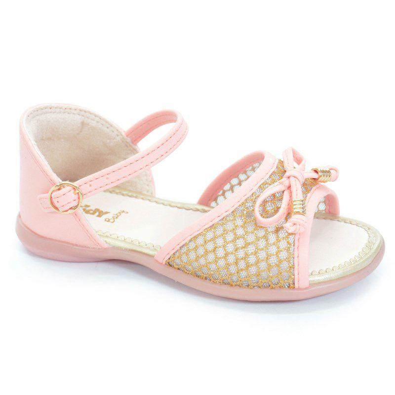 Sandalia Infantil Kidy Baby Mna Equilibrio Pessego Ouro-0020575