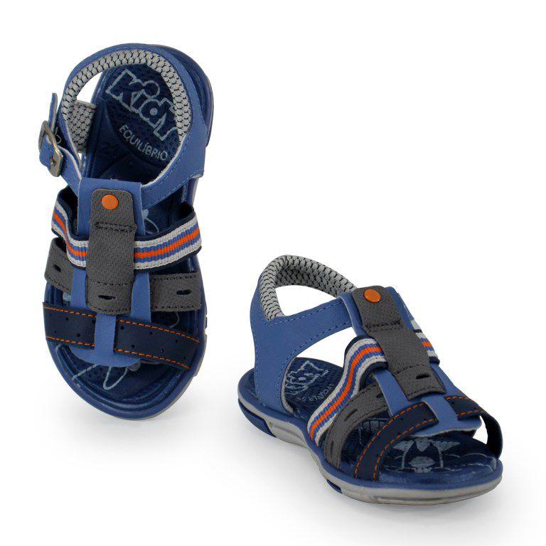 Sandalia Kidy Baby Equilibrio Azul Grafite Laranja-107505