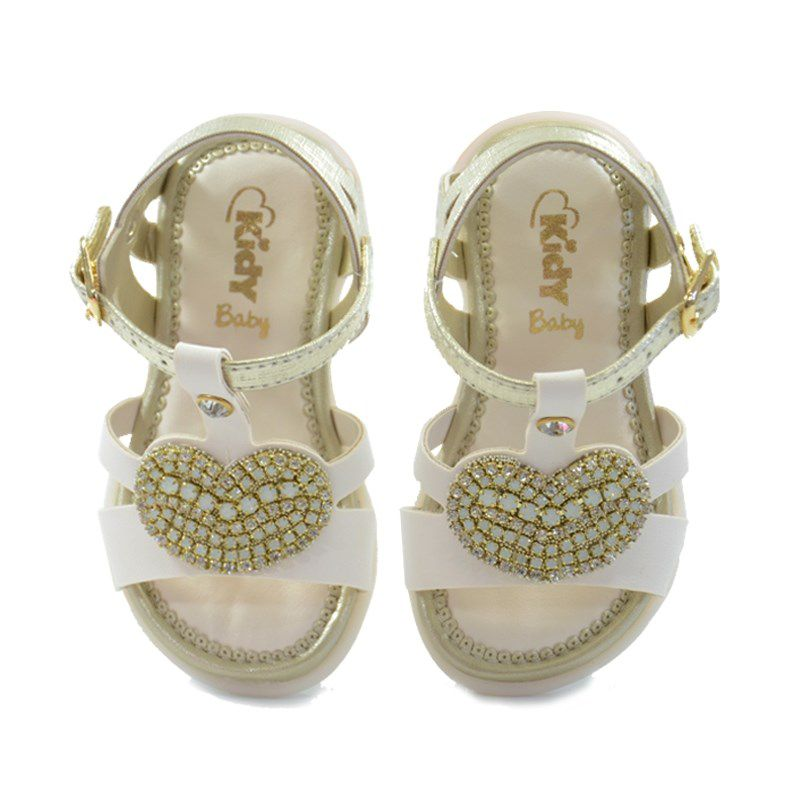 Sandalia Kidy Baby Equilibrio Infantil Meninas Marfim Ouro-0020611