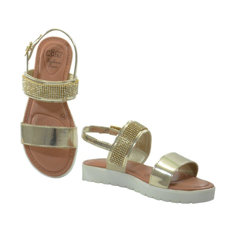 Sandalia Kidy Fashion Form Infantil Meninas Ouro-1480060