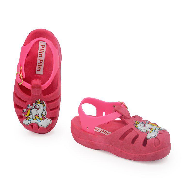 Sandalia Plim Plim Unicornio Infantil Meninas Pink-980
