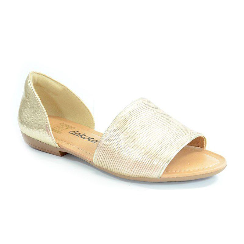 Sandalia Rasteira Dakota Specchio Ouro Light-Z2653