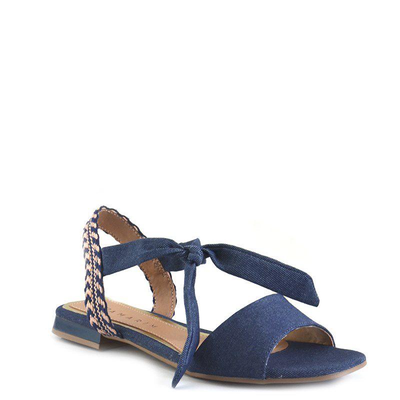 Sandalia Rasteira Ramarim Jeans Denin-1925203