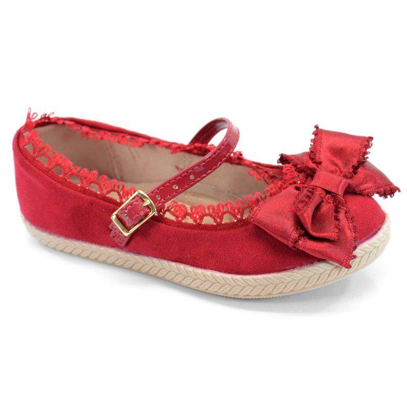 Sapatilha Infantil Molekinha Camurca Vermelho - 2116102