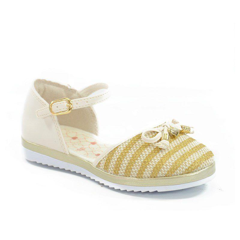 Sapatilha Kidy Bailarina Soft Infantil Meninas Marfim Ouro-0270341