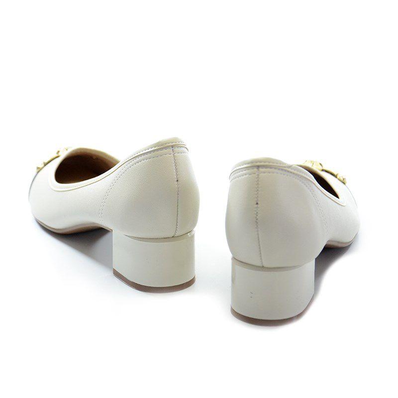 Sapato Beira Rio Salto Baixo Branco Off Preto - 4188105