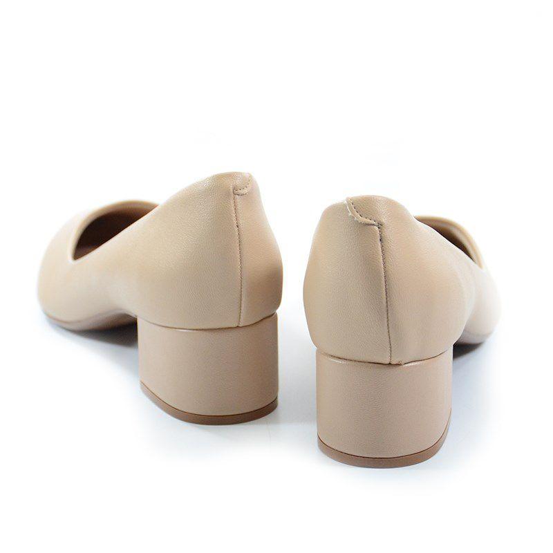 Sapato Beira Rio Salto Baixo Napa Bege - 4182100