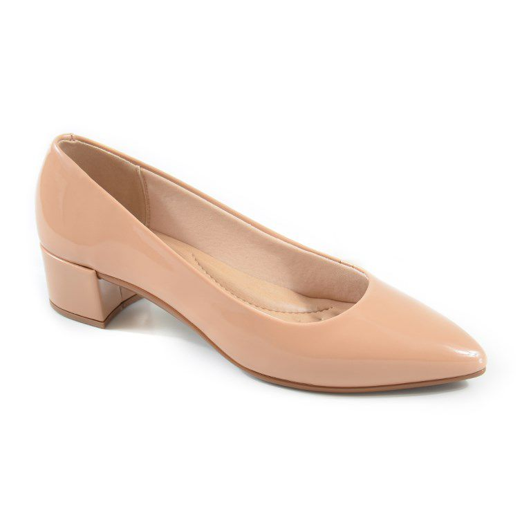 Sapato Beira Rio Salto Baixo Verniz Nude - 4222100