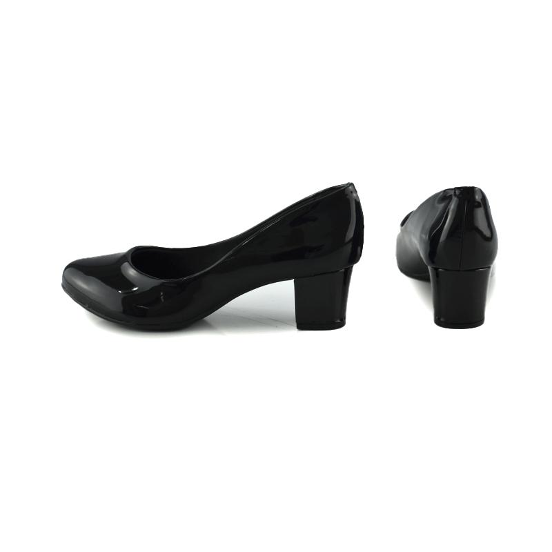 Sapato Feminino Beira Rio Salto Medio Verniz Preto - 4777309
