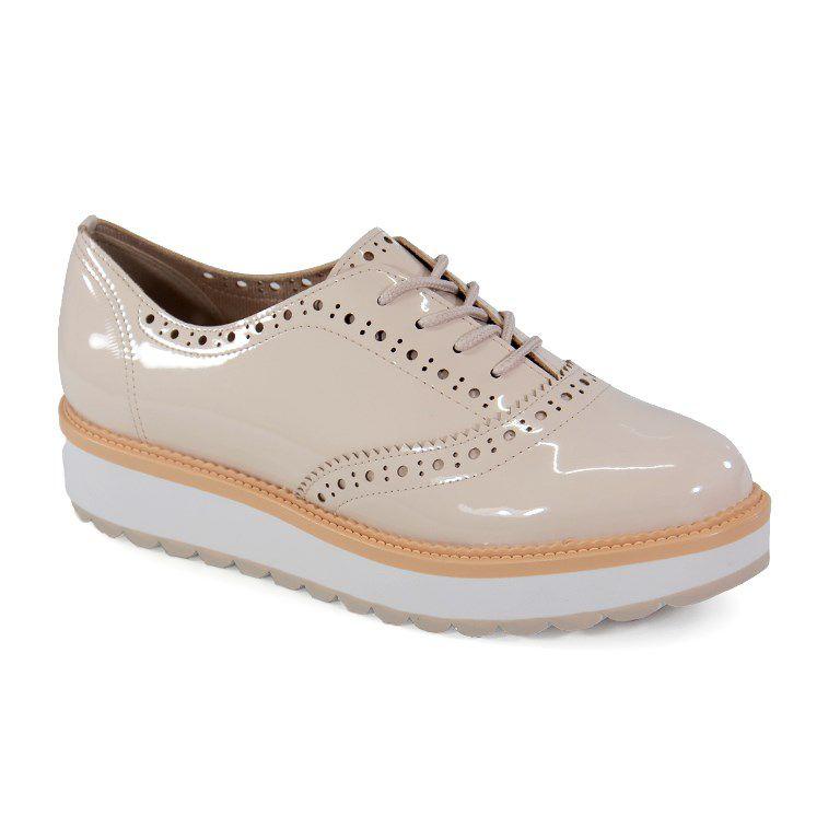 Sapato Oxford Beira Rio Verniz Creme - 4214103