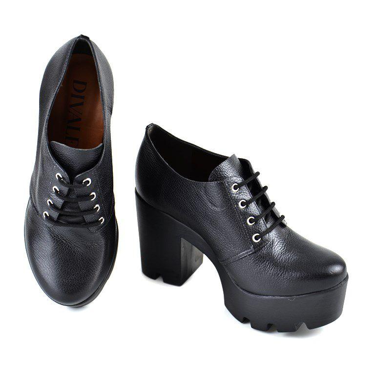 Sapato Oxford Divalesi Salto Alto Preto - 39014