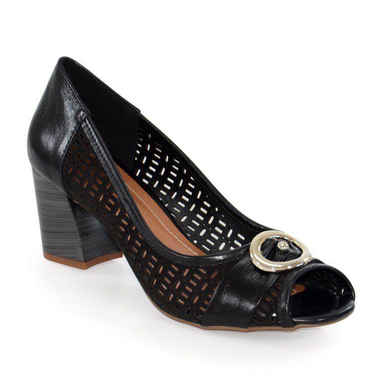 Sapato Retrô Salto Médio Numeração Especial Marlinês Preto - 6456-1187p