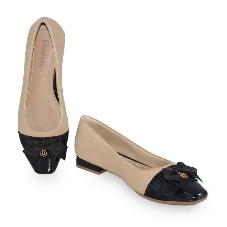 Sapato Salto Baixo Usaflex Luxor Preto - Y8004