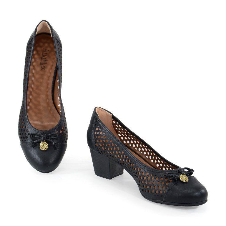 Sapato Salto Médio Numeração Especial Ana Flex Preto -643518a