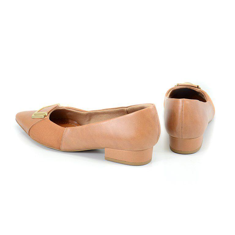 Sapato Usaflex Salto Baixo Batik Camel - Ab6602