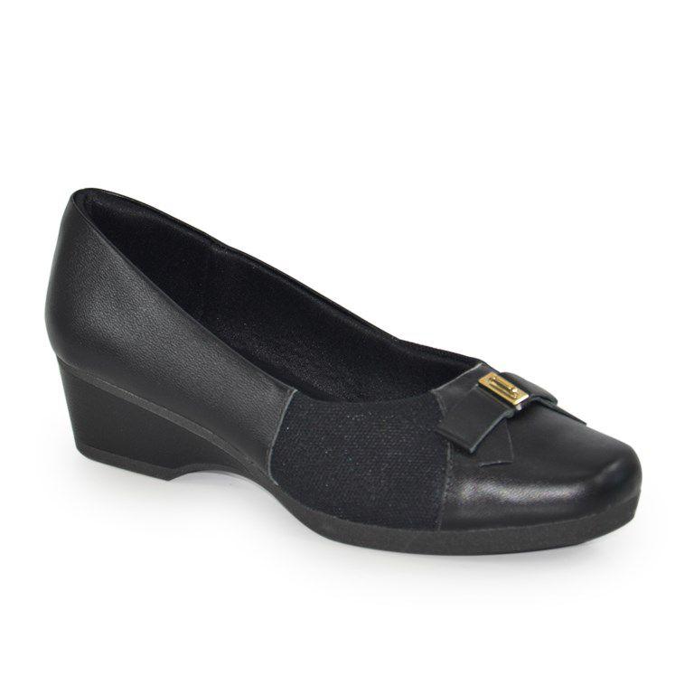 Sapato Usaflex Salto Baixo Caprina Preto - Z2309