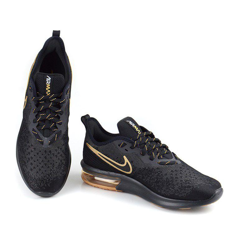 Tênis Masculino Nike Air Max Sequent 4 Preto Dourado - Ao4485-005