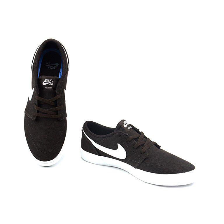 Tênis Masculino Nike Sb Portmore Ii Solar Cnvs Marrom Branco - 880268202