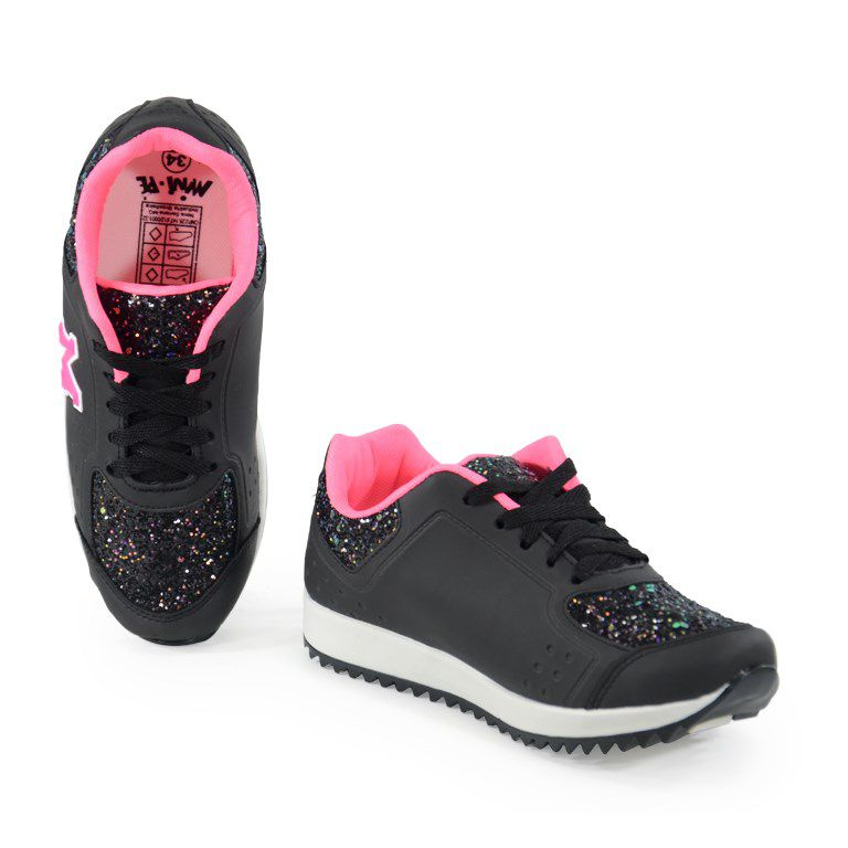 Tenis Mini Pe Infantil Meninas Preto Pink-Mp1819
