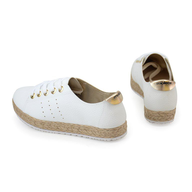 Tenis Moleca Branco Dourado - 5617422