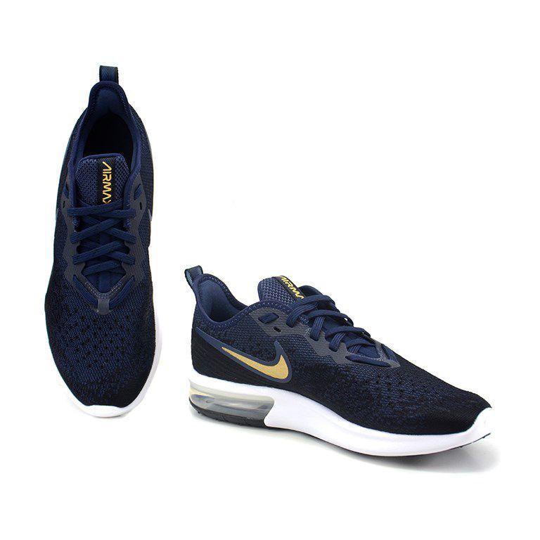 Tenis Nike Wmns Air Max Sequent 4 Preto Marinho Dourado - Ao4486-003