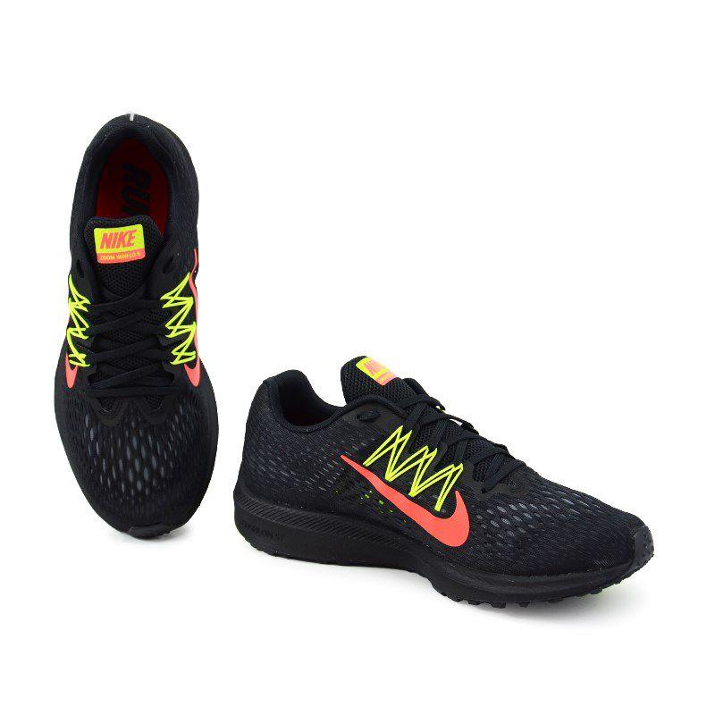Tenis Nike Zoom Winflo Preto Verde Limao Coral -  Aa7406-004
