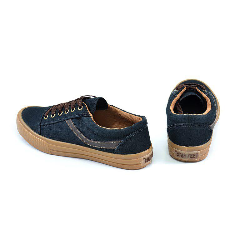 Tênis Star Feet Lona Preto Marrom  - Fa015c
