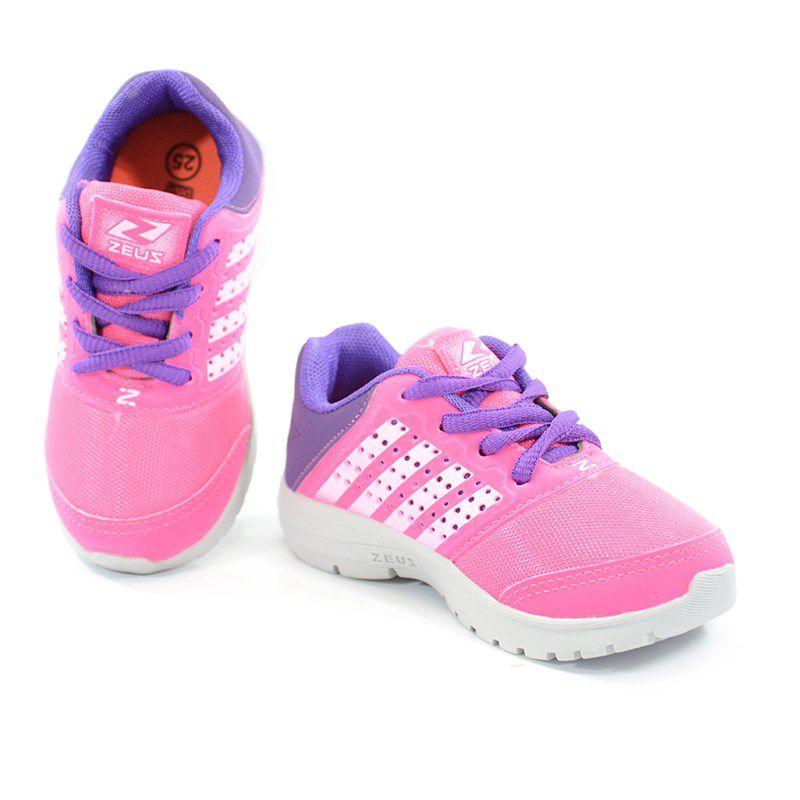 Tenis Zeus Infantil Meninas Gelo Pink Uva-Hx-Baby