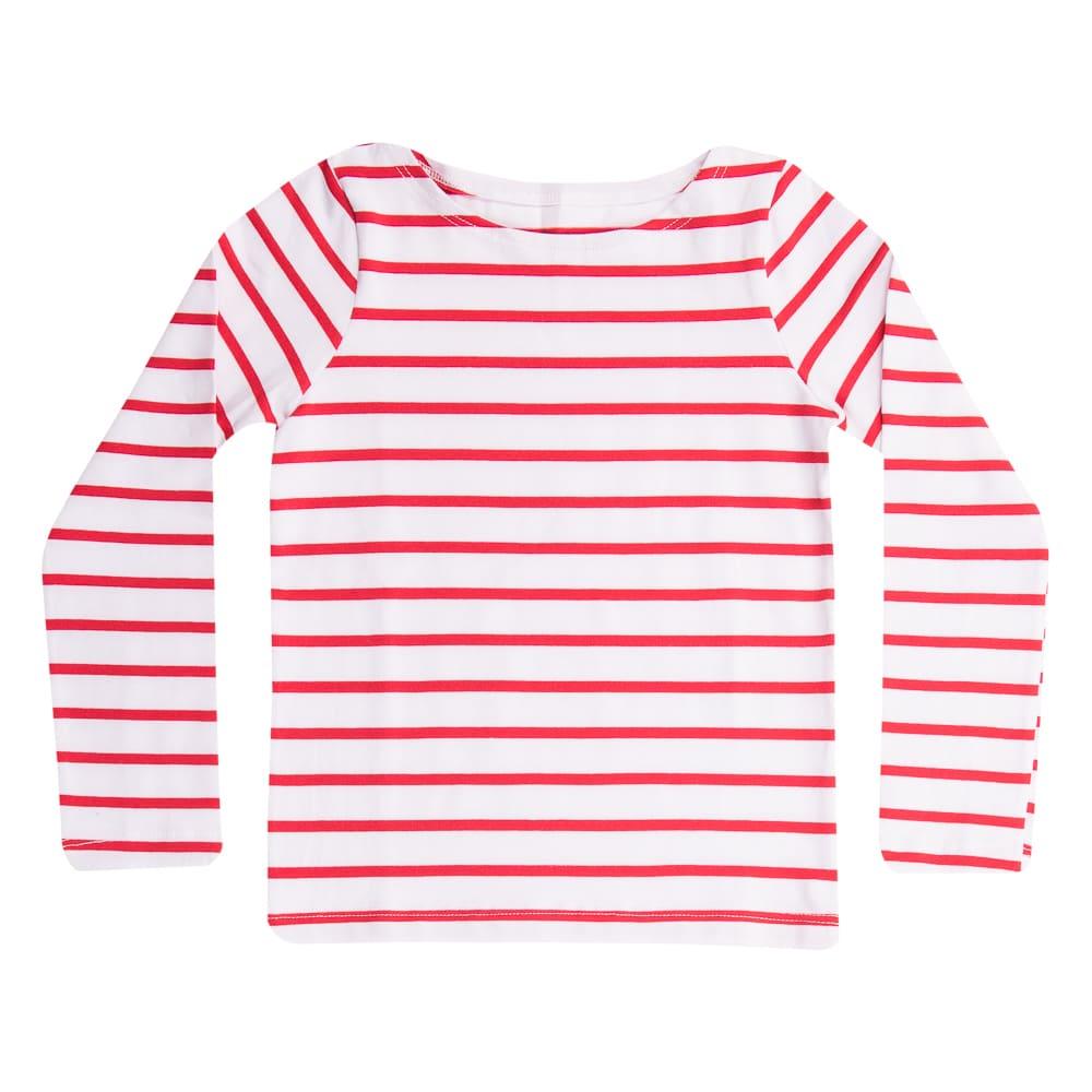 Blusa Cotton Manga Longa Listrada Vermelha